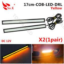 2x Extreme Bright Yellow/Amber COB LED Daytime Running Light Lamp DRL Waterproof