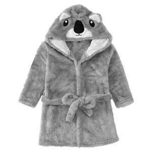 Kid Boy Girl Hooded Pajamas Cute Koala Sleepwear Dressing Gown Flannel Nightgown
