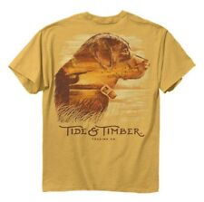 Mens TIDE & TIMBER labrador retriever t shirt L Large NWT yellow duck hunt lab