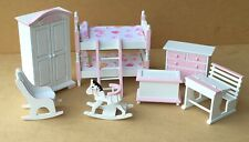 1:12 Scale 7 Piece Pink & White Nursery Set Tumdee Dolls House Bedroom 900p