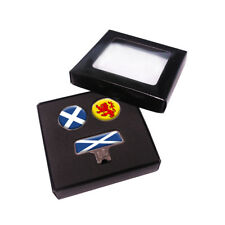 Golf Cap Clip Scotland Flags + 2 Ball Markers by Asbri. Society Gift or Present