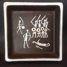 Swedish Art Pottery Square Dish Trinket Candy Gabriel Sweden Primitive Warriors
