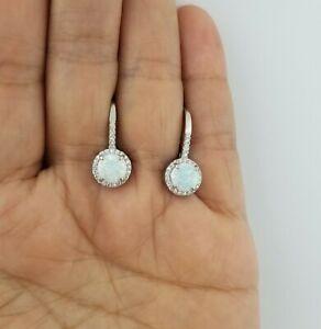 925 Sterling Silver White Opal Sapphire Drop Dangle Leverback Earrings