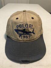 Rare RALPH LAUREN POLO RL Shark 1967 Sports Hat Leather Strap Cap Distressed IG