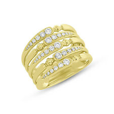 0.62Ct 14K Yellow Gold Diamond Wide Cocktail Right Hand Multi Band Ring