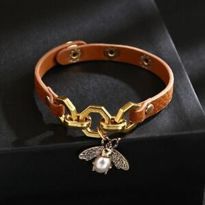 Luxury Bee Pendant Charms Bracelets Bangle Women Punk Brown Leather Jewelry Gift