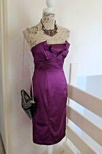 Coast Purple Satin Strapless Wedding Guest Evening Cocktail Dress UK10/12