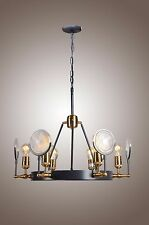 New 6 Light Industrial Rustic Gaslight Lens Chandelier