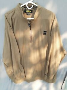 Greg Norman Play Dry Pullover 1/4 Zip Golf Shirt Long Sleeve Tan Size XXL