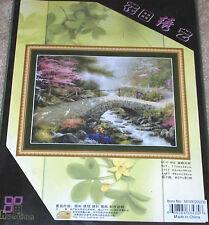 """Floral """"Bridge Over Water"""" Cross Stitch Kit NIP 19x14"""""""