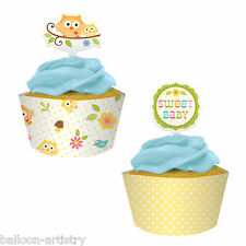 12 Happy SWEET TREE Animals Baby Shower Party Cupcake Wraps Wrappers & Picks