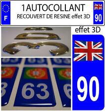 1 sticker plaque immatriculation auto TUNING RESINE DRAPEAU ANGLAIS FLOTANT 90