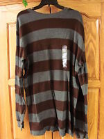 NEW MENS ST JOHNS BAY LONG SLEEVE  THERMAL SHIRT BROWN & GRAY STRIPE XLT
