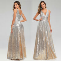 Ever-Pretty Deep V-neck Sequin Evening Prom Dress A-Line Party Holiday Ball Gown