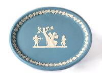 Wedgwood Jasper Oval Tray Blue Jasperware Psyche Bound by Cupid England