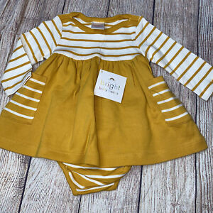 Hanna Andersson 60 3-6M Mustard Striped Long Sleeve Dress Bloomers NEW