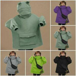 Unisex Frog Hoodie Sweatshirt Couples Casual Plain Hooded Sweatshirt Fleece Tops