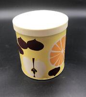 Vintage Proctor & Gamble FLUFFO Yellow / Orange Fruits  SHORTENING CANISTER TIN