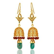 18k Gold 925 Silver Pave Diamond Emerald Gemstone Dangle Earring Wedding Jewelry