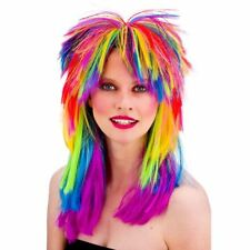 80s Rainbow Long Punk Glam Rock Wig Neon Mullet Fancy Dress Costume Mens Ladies