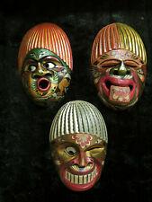 Set of 3 Wooden African Tribal Exotic Tiki Masks
