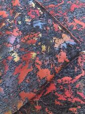 Upholstery Heavy Fabric Red Gray Chenille Poly Abstract 2.3 Yards Polyester 54�