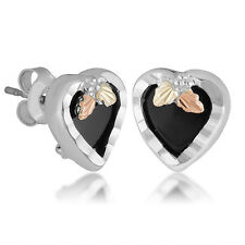 Black Hills Gold onyx heart earrings womens ladies .925 sterling silver