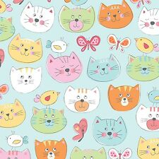 Fabric Cats Faces on Blue Flannel 1/4 Yard