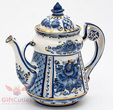Porcelain Gzhel teapot coffee server gold plated handmade in Russia 1.1 Liter