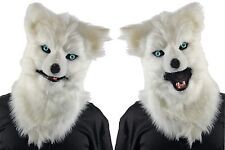 ADULT ANIMATED GROWLING HOWLING WHITE WOLF MONSTER FULL COSTUME MASK MR039163