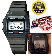 ORIGINAL CASIO F-91W ALARM CHRONOGRAPH CLASSIC DIGITAL STRAP WATCH BLACK