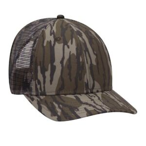 OTTO CAP MOSSY OAK BOTTOMLAND COUNTRY CAMOUFLAGE 6 PANEL TRUCKER LOW PROFILE