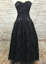 Scott McClintock Black Lace Sequin Strapless Prom Cocktail Party Dress USA 12