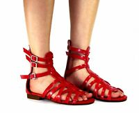 atta-04 New Flats Zipper Buckle Sandals Gladiator Party Beach Women's Shoes Red