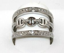 Round Diamond Link Chain Lady's Ring Band 18k White Gold .98Ct