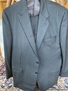 Hickey Freeman Loro Piana Italy Gray Striped Blazer & Pants Size 46R