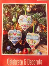 (X3) Xmas Heart Hangings Decorations Christmas Cross Stitch Chart