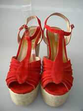 MOLLINI 10 WIDE (9.5 fit) - RRP $179 RED SUEDE ROPE PLATFORM OPEN-TOE SANDAL