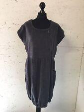 Soft B By Intown Grey Denim Cotton Dress Elastic Hem Zip Size 14 16 Knee Pocket