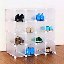 White Interlocking 16 Pairs Metal Frame Shoe Organiser Shelf Rack Storage Stand