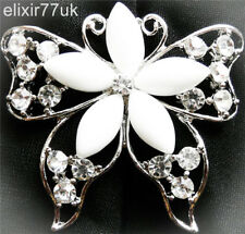 NEW LARGE SILVER BUTTERFLY FLOWER PIN BACK BROOCH VINTAGE STERLING BOUQUET SOLID