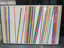 VINTAGE 1968 STRIPED POP ART ABSTRACT W/C PAINTING by CATHERINE ZIMMERMAN