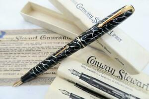 RARE, CONWAY STEWART 28 FOUNTAIN PEN CRACKED ICE, C1950, BOXED WITH INSTRUCTIONS