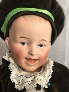 """Antique Bisque & Compo Heubach German Laughing Boy Baby Doll 11"""" Size Mold 7604"""