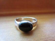 925 Sterling Silver Signed Unique Handmade Navajo Style VTG Onyx Ring Sz 6,5=3rg