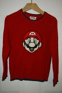 Boys Nintendo Red Super Mario Brothers Embroidered Knit Pullover Sweater Sz 6