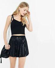 EXPRESS Medium BLACK SEQUIN BEADED SKORT Skirt Shorts M 8-10 high waist SEQUINED