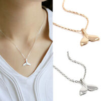 Silver Whale Tail Fish Nautical Charm Mermaid Tail Silver Necklace Jewelry FT