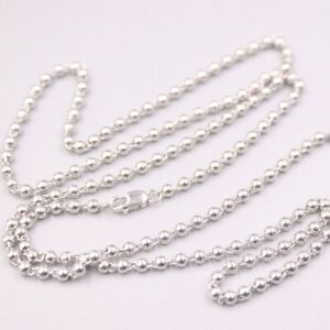 Real Pt950 Pure Platinum 950 Necklace For Man Women Smooth Beads Chain 24''L