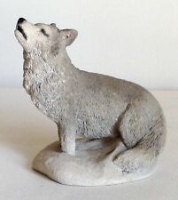 "Stone Critters ""Wolf Call� Figurine Howling Wolf Home Decor"